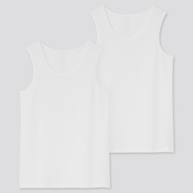 Kids Cotton Inner Tank Top (Set Of 2) (Online Exclusive), White, Medium