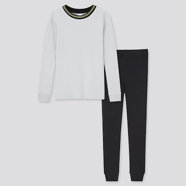 Kids Ultra Stretch Sweat Long-Sleeve Set, Light Gray, Medium