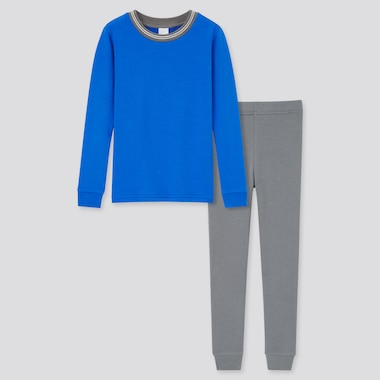Kids Ultra Stretch Sweat Long-Sleeve Set, Blue, Medium