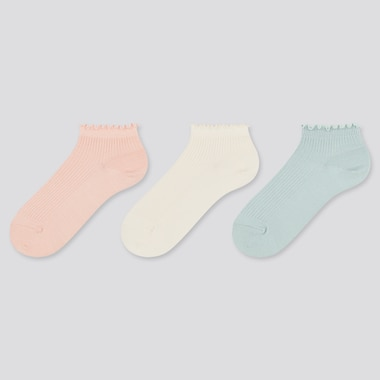 Girls Short Socks (3 Pairs), Light Orange, Medium