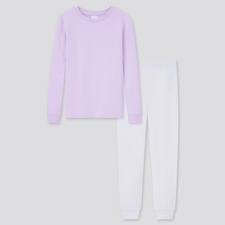 Girls Ultra Stretch Sweat Long-Sleeve Set, Light Purple, Large