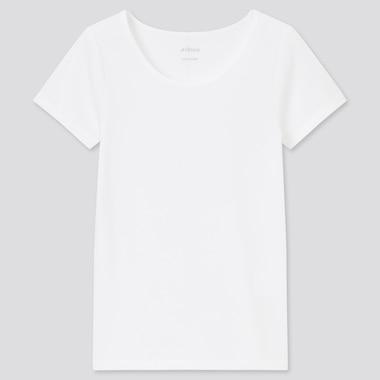 Kids Airism Cotton Blend Scoop Neck T-Shirt (Online Exclusive), White, Medium