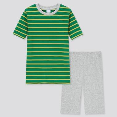 Kids Airism Striped Short-Sleeve Set, Green, Medium