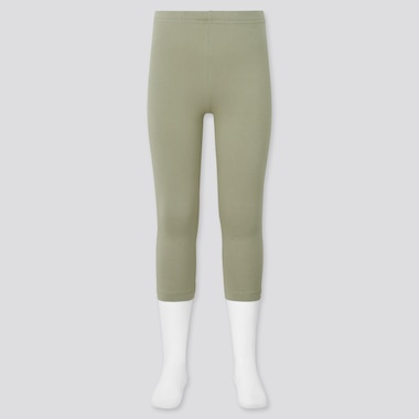 Girls Dry Cropped Leggings, Green, Medium