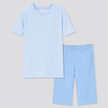 Girls Dry Stretch Short-Sleeve Set, Light Blue, Medium