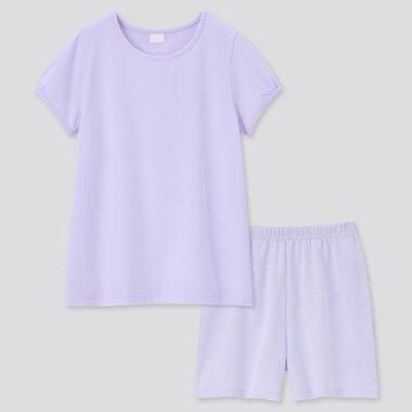 Girls AIRism Cotton Blend Short Sleeved Set