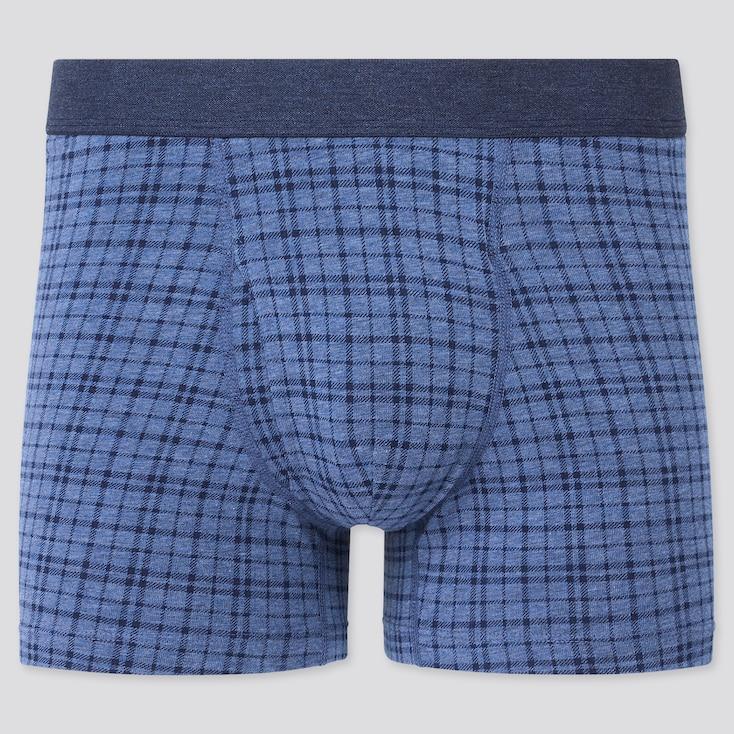 Men Supima Cotton Checked Boxer Briefs, Blue, Large
