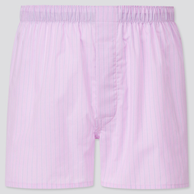 Men Woven Striped Boxers, Pink, Large