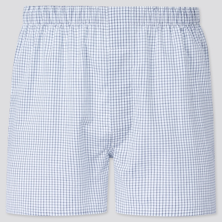 Men Woven Checked Boxers, White, Large