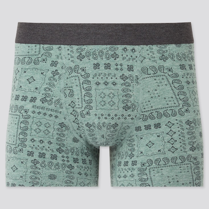 Men Supima© Cotton Printed Boxer Briefs, Green, Large