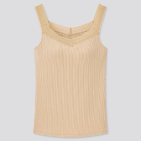Women AIRism Cotton Ribbed Lace Bra Sleeveless Top
