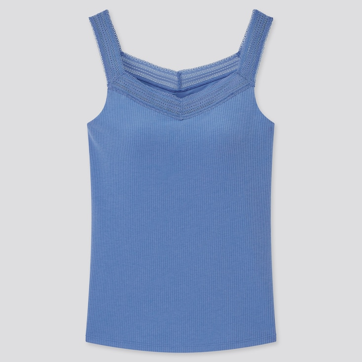 Women Airism Cotton Ribbed Lace Sleeveless Bra Top, Blue, Large