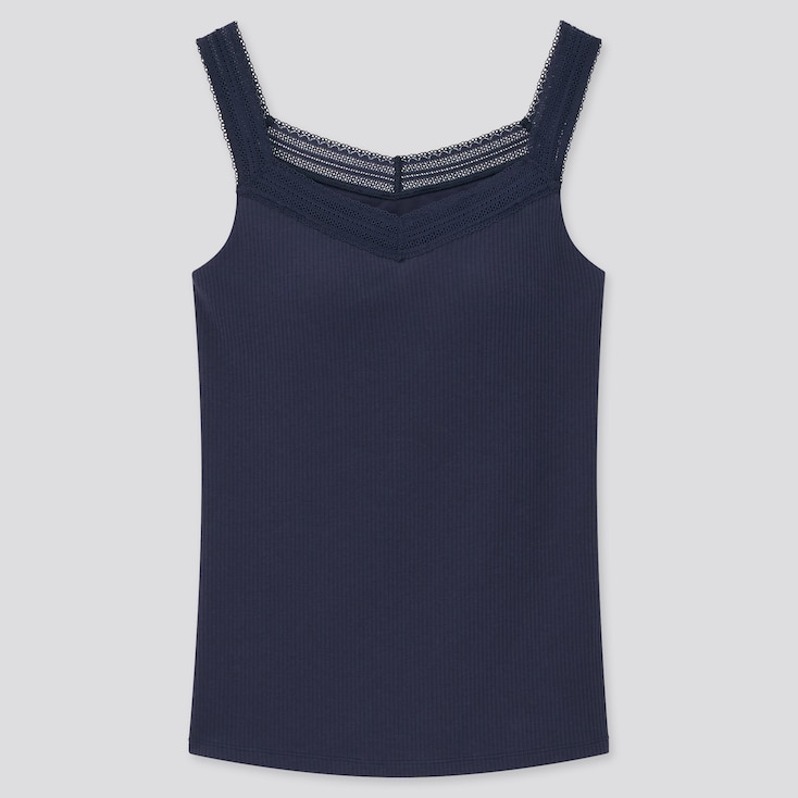 Women Airism Cotton Ribbed Lace Sleeveless Bra Top, Navy, Large