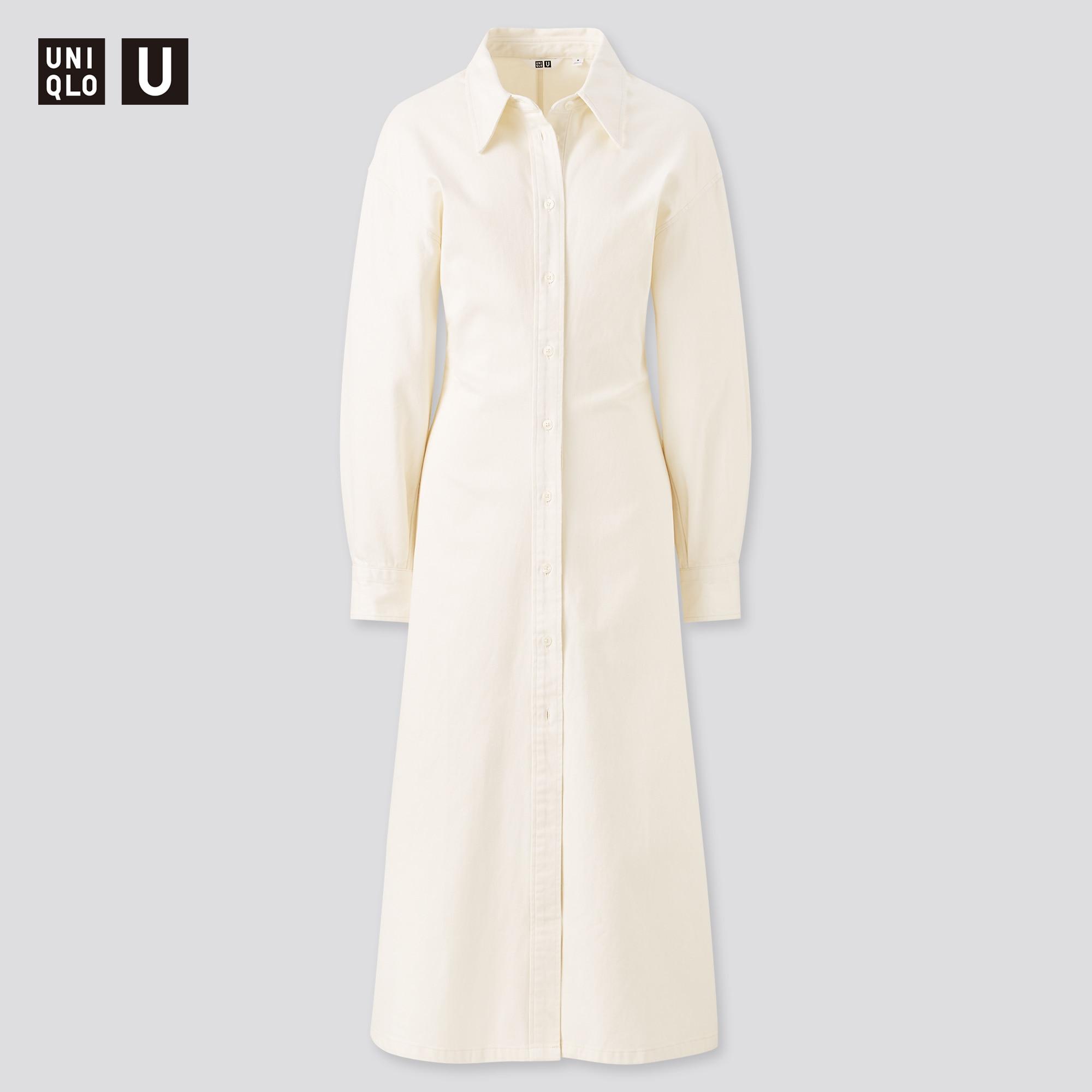WOMEN U LONG-SLEEVE LONG SHIRT DRESS