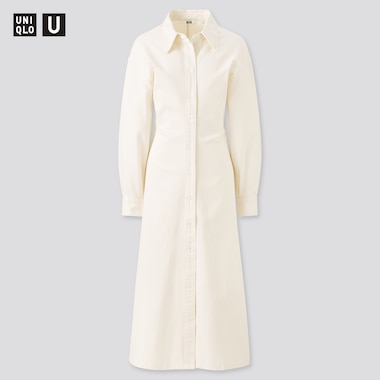 Women U Long-Sleeve Long Shirt Dress, Off White, Medium