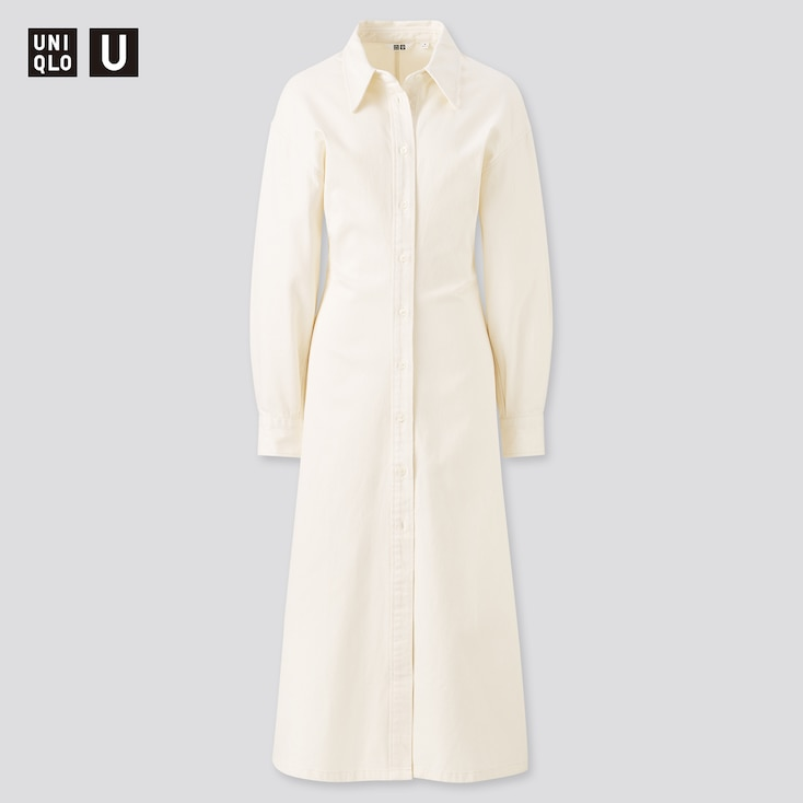 Women U Long-Sleeve Long Shirt Dress, Off White, Large