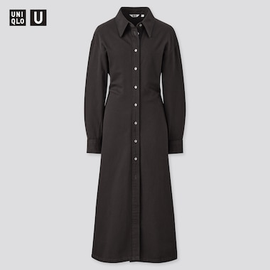 Women U Long-Sleeve Long Shirt Dress, Black, Medium