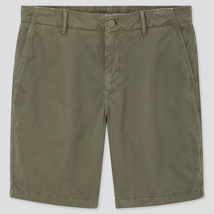 Men Chino Shorts, Dark Green, Large
