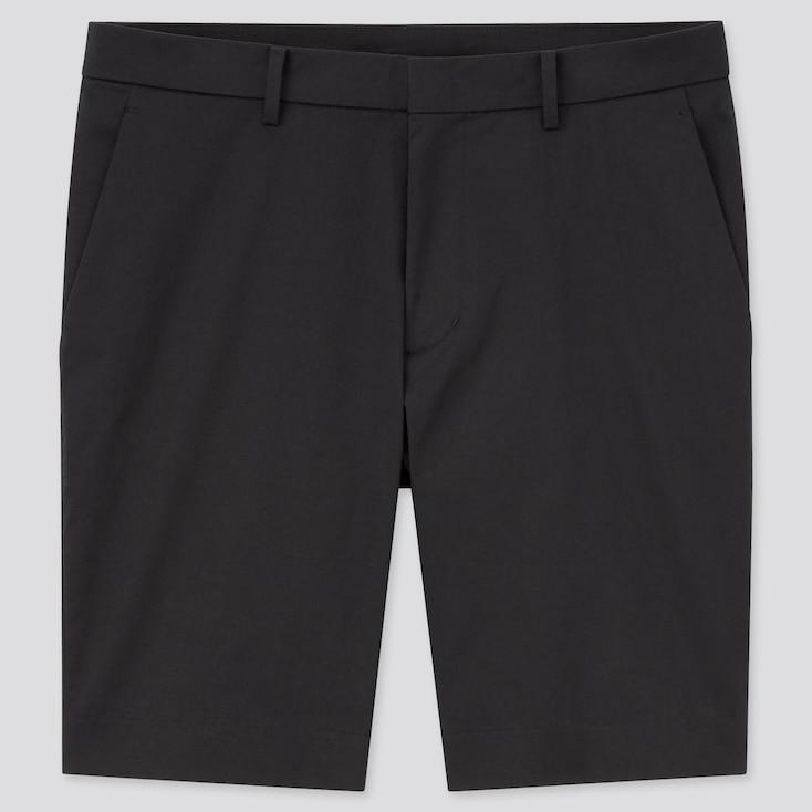 Men Stretch Slim-Fit Shorts, Black, Large