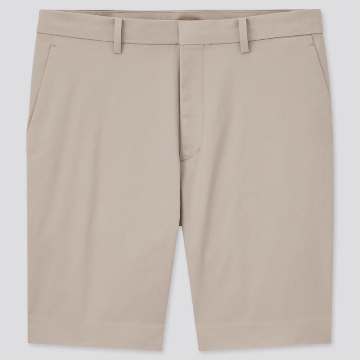 Men Stretch Slim-Fit Shorts, Beige, Large