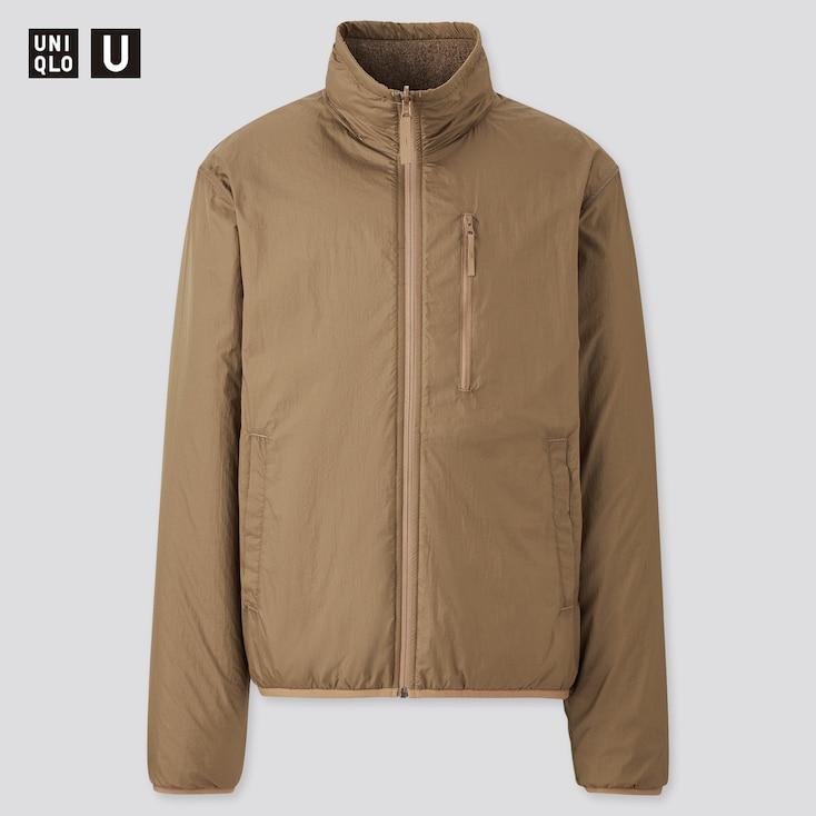 Men U Reversible Jacket, Brown, Large