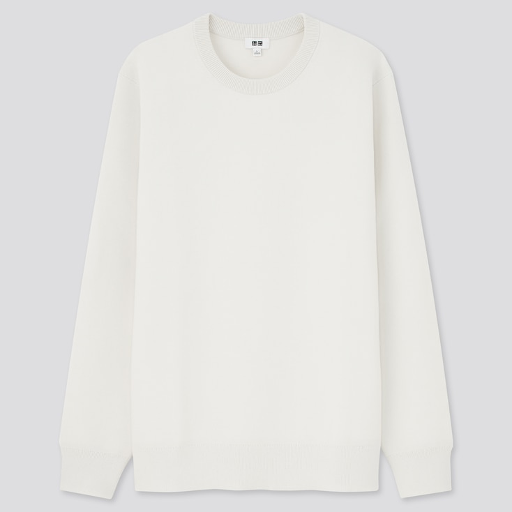 Washable Stretch Milano Ribbed Crew Neck Long-Sleeve Sweater, Off White, Large