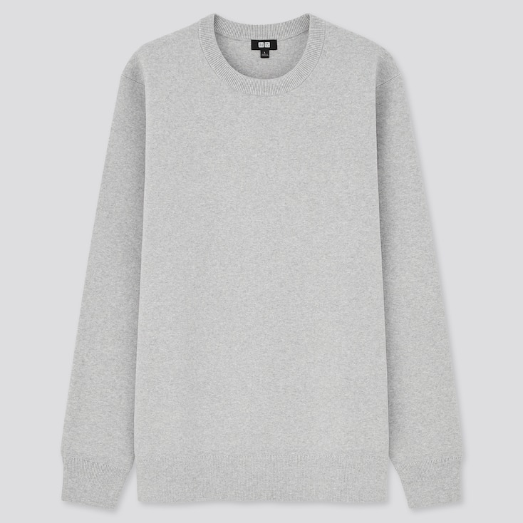 Washable Stretch Milano Ribbed Crew Neck Long-Sleeve Sweater, Gray, Large