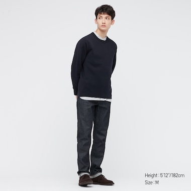 Washable Stretch Milano Ribbed Crew Neck Long-Sleeve Sweater, Navy, Medium