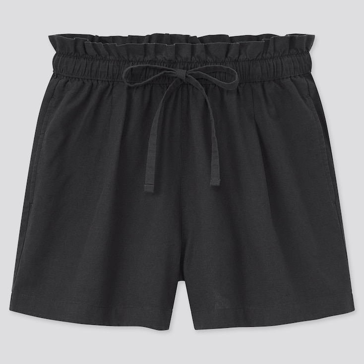 Women Cotton-Linen Relaxed Shorts, Black, Large