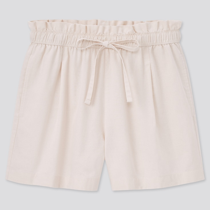 Women Cotton-Linen Relaxed Shorts, Natural, Large
