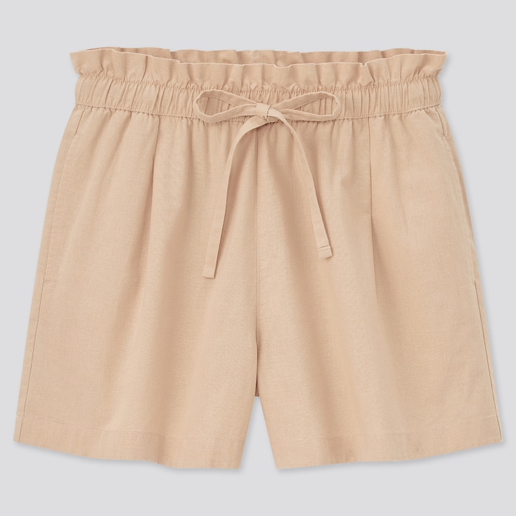 Women Cotton-Linen Relaxed Shorts, Beige, Large
