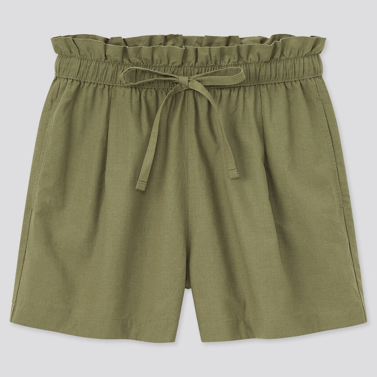 Women Cotton-Linen Relaxed Shorts, Olive, Large