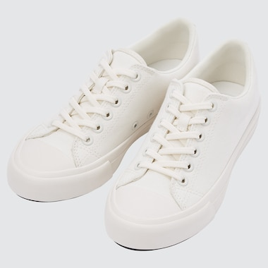 Cotton Canvas Lace Up Sneakers, Off White, Medium