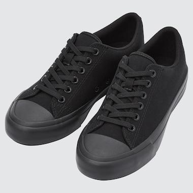 Cotton Canvas Lace Up Sneakers, Black, Medium