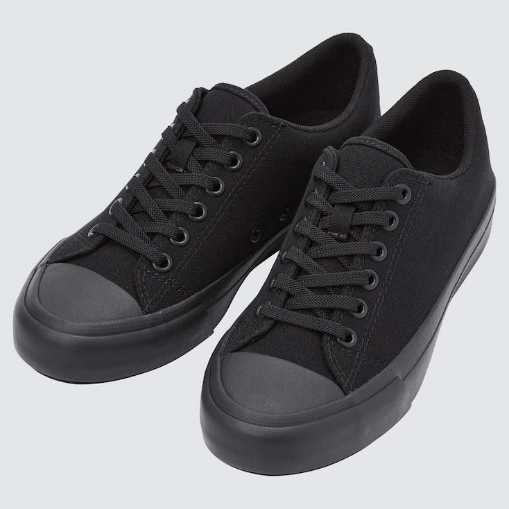 Cotton Canvas Lace Up Sneakers, Black, Large
