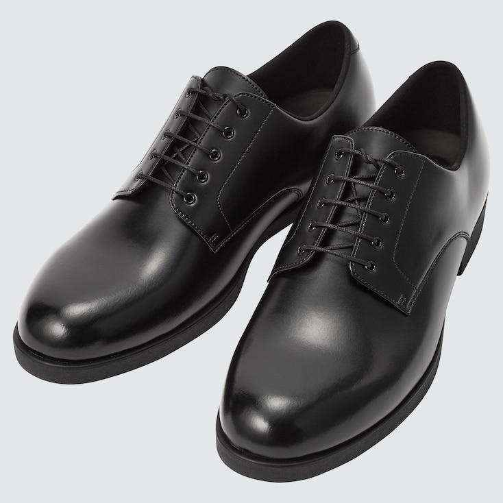 Men Plain Toe Derby Shoes, Black, Large