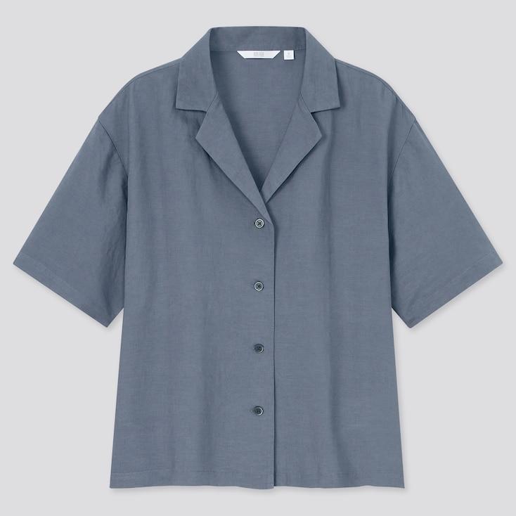 Women Linen Blend Short-Sleeve Shirt, Gray, Large