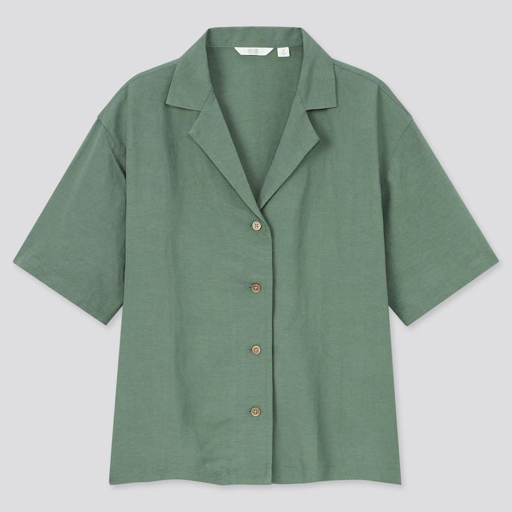 Women Linen Blend Short-Sleeve Shirt, Green, Large