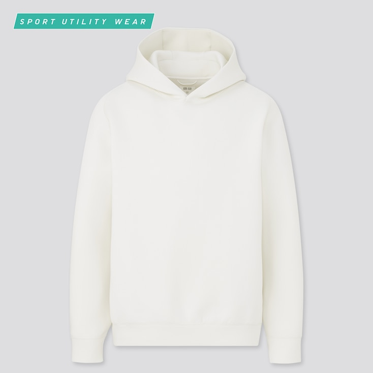 Men Ultra Stretch Dry Sweat Pullover Hoodie, Off White, Large