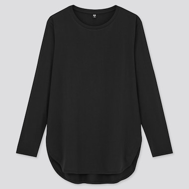 Women Cotton Shirttail Hem Long T-Shirt, Black, Medium