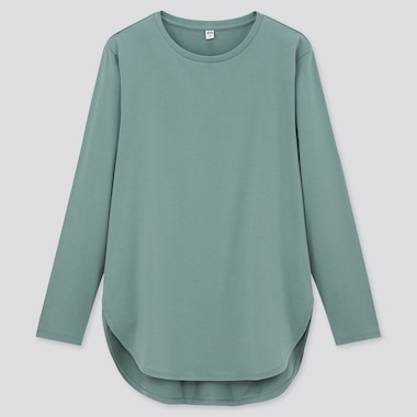 Women Cotton Shirttail Hem Long T-Shirt, Green, Medium