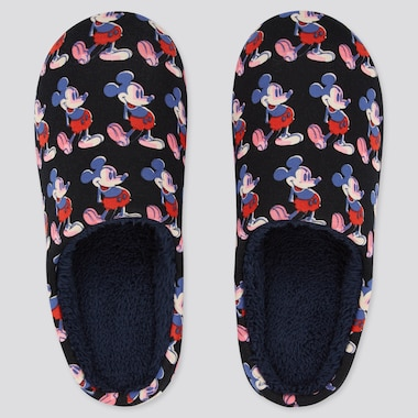 Disney Mickey Mouse Art By Andy Warhol Slippers, Black, Medium