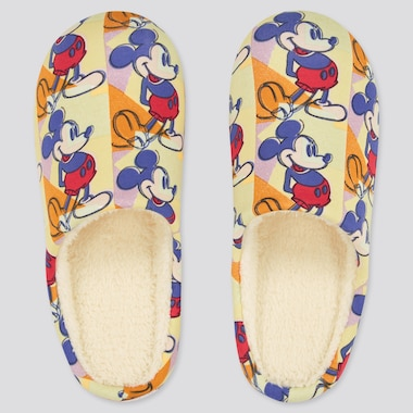Disney Mickey Mouse Art By Andy Warhol Slippers, Yellow, Medium