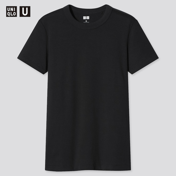 Women U Crew Neck Short-Sleeve T-Shirt, Black, Large
