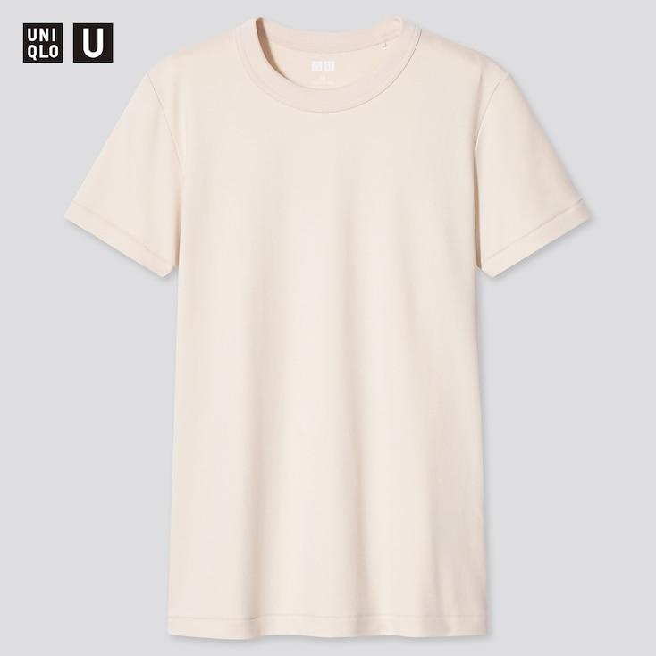 Women U Crew Neck Short-Sleeve T-Shirt, Beige, Large