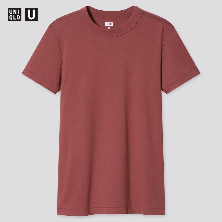 Women U Crew Neck Short-Sleeve T-Shirt, Brown, Large