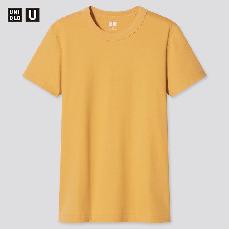 Women U Crew Neck Short-Sleeve T-Shirt, Yellow, Large