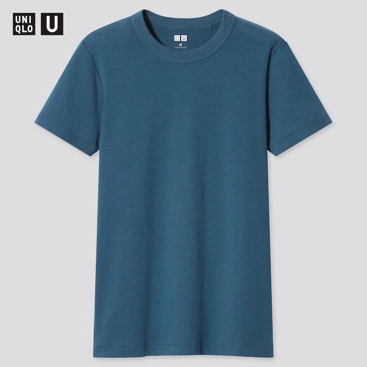Women U Crew Neck Short-Sleeve T-Shirt, Blue, Large