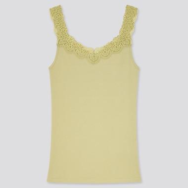 Women Cotton Ribbed Lace Sleeveless Top, Green, Medium