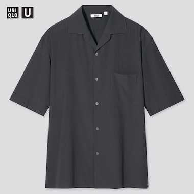 Men Uniqlo U Short Sleeved Shirt (Open Collar)
